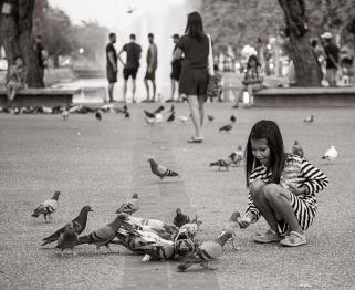 Girl Feeding Pigeons - Chiang Yai