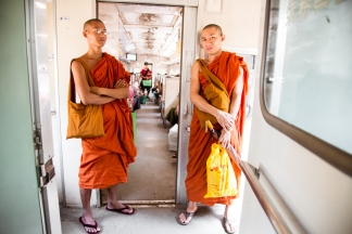 Monks - On Route to Yangon Station