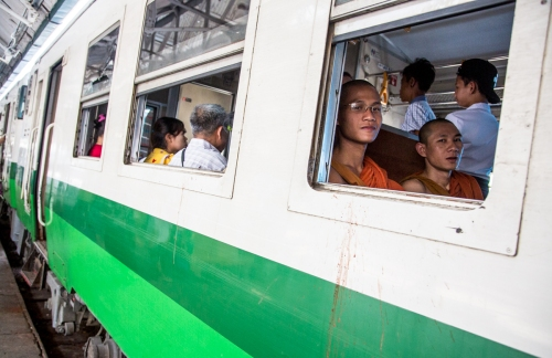 Monks - At Yangon Railway Station